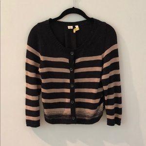 Tan/ black knit and fabric cardigan